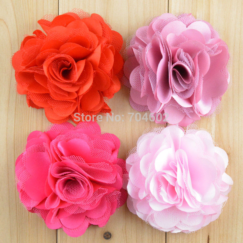 Hot Selling 3 Satin Mesh Silk Flowers without hair clip Accessories Felt flowers Corsage 50pcs/lot Free Shipping F21 halloween party zombie skull skeleton hand bone claw hairpin punk hair clip for women girl hair accessories headwear 1 pcs
