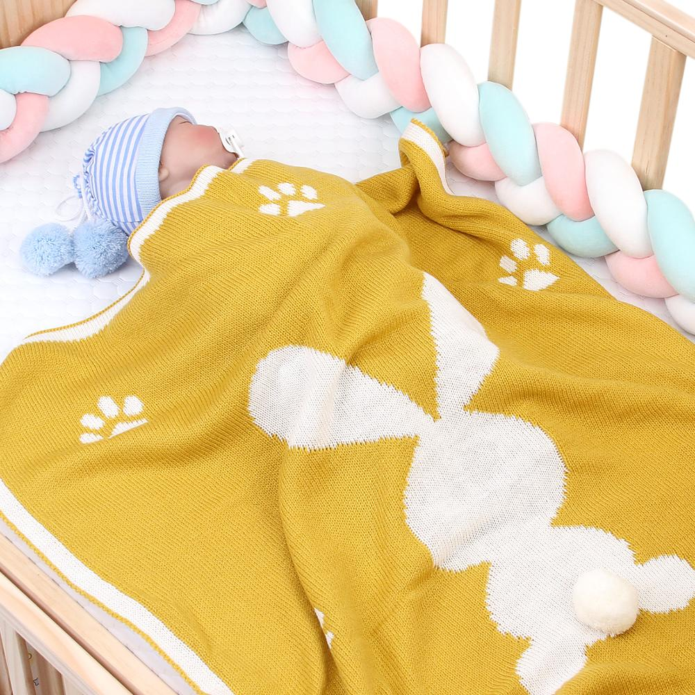 Baby Blankets Knitted Cute 3D Rabbit Newborn Bebe Swaddle Wrap Blanket Spring Summer Children Stroller Bedding Linen Cover Quilt