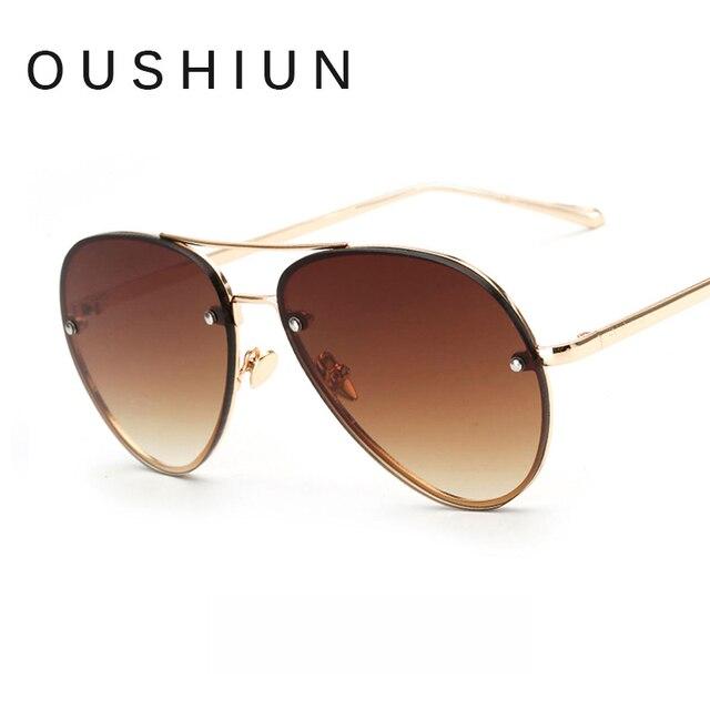 Oushiun Piloto Gafas de Sol Hombres Mujeres Ronda de Doble Haz de Sol lente  Transparente Vintage 7af4d6474dbf