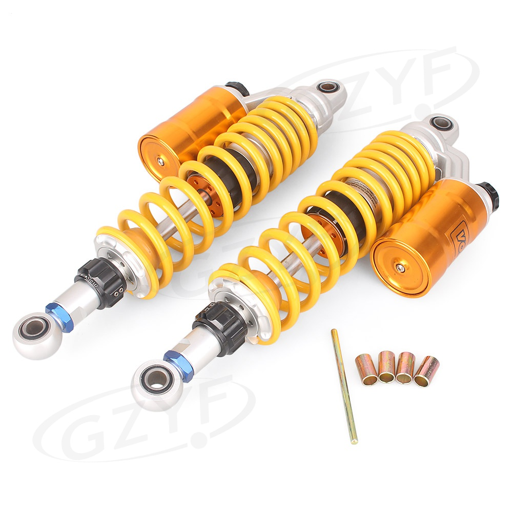 Moto 360mm 14 2 pcs Moto Arrière Air Shock Absorber Suspension Sping Amortisseur Jaune