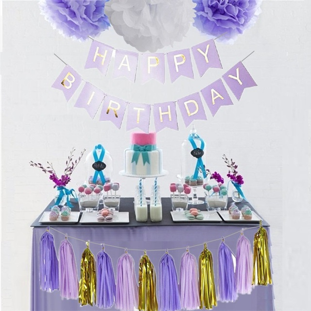 Happy Birthday Banner Paper Pompoms Tassel Garland Bunting Birthday