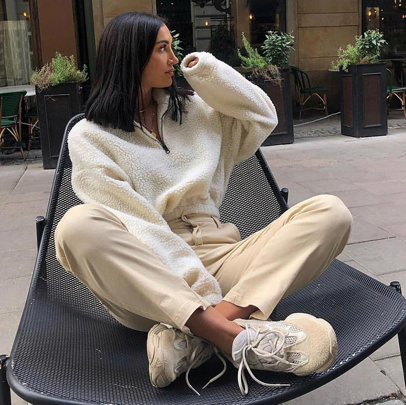 HTB1AXpBXEzrK1RjSspmq6AOdFXaw Hugcitar long sleeve zipper high neck Faux lambswool crop tops 2018 autumn winter women fashion solid coat jacket