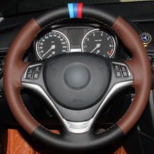 Hand sewing custom Black  Leather Coffee Car Steering Wheel Cover for BMW X1 2014 2015