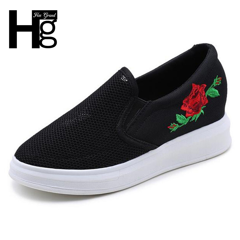 HEE GRAND Women Casual Daily 2017 Rose Flower Mesh Soft Shoes Height Increasing Spring Platform Girls Shoes Woman XWD5823 hee grand fashion height increasing women shoes zip white black women casual pumps wedges shoes drop shipping xwc471