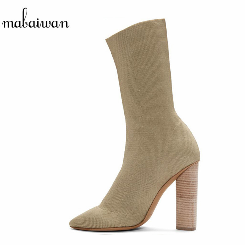 Mabaiwan 2017 Sock Stretch Fabric Ankle Boots Fashion High Heel Women Shoes Sexy Ladies Black Women Boots Slip On Pumps Mujer slip on winter boots stretch lycra