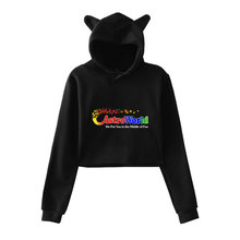 Fashion Travis Scotts ASTROWORLD Kpop Long Sleeve Cropped Hoodies Sweatshirt Cat Hooded Pullover Crop Cool Tops Clothes crop tops cute cropped hoodies kawaii womens sweatshirts hoodie solid cat ear long sleeve cropped sweatshirt hooded pullover