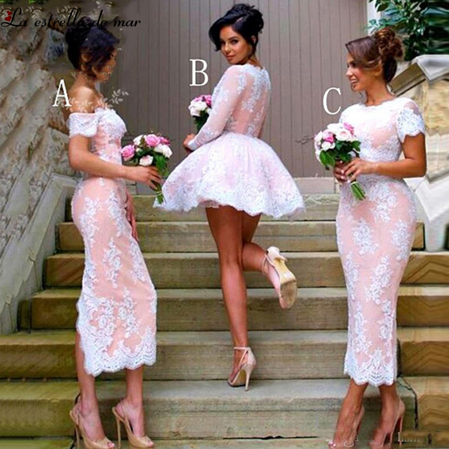 Vestido madrinha 2019 new Boat Neck lace long sleeve sexy mermaid 3 style peach white   bridesmaid     dress   TeaLength plus size