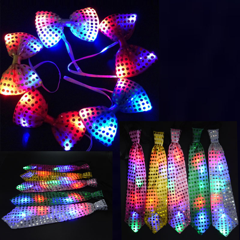36pc LED Flashing Light Up Sequin Bowtie Necktie Men Boys Party Bow Tie Wedding Boy