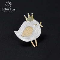 Lotus Fun Real 925 Sterling Silver Natural Handmade Fine Jewelry Lovely Princess Bird Design Brooches Pin