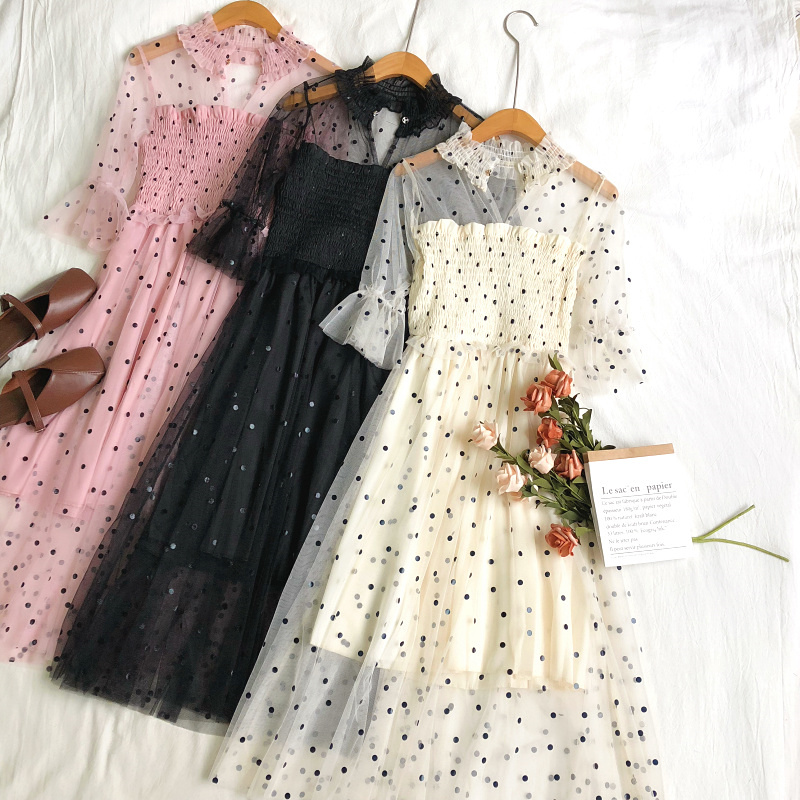 Women Summer Flare Sleeve Polka Dot Ruffle Dress Casual Elastic Slim High Waist Mesh Gauze Voile Pullover Tulle Layer Cake Dress