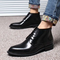 Genuine Leahter Men's Fashion Dress Wedding Shoes Luxury Style Flats Black Patent Leather Prom Shoes EU 37-44 SMYLMX-F0018