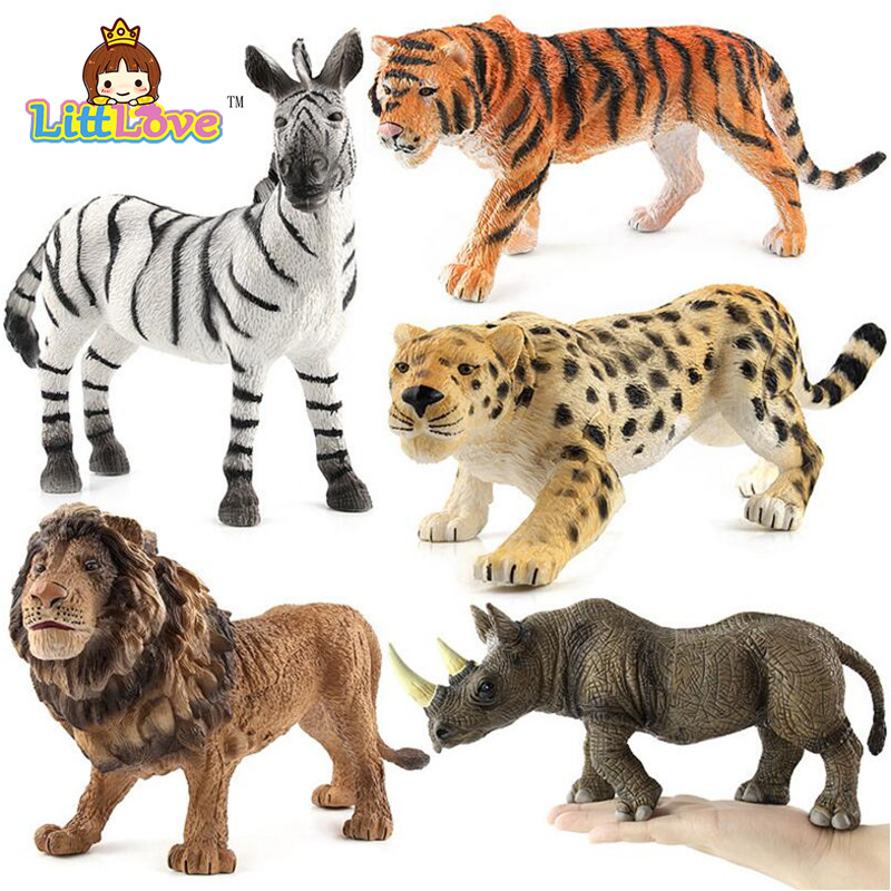 LittLove 2017 New Zoo Big Size Wild Animals Action Figures Set Kids Toys For Children Wildlife Toys Simulation Animal Model Toys easyway sea life gray shark great white shark simulation animal model action figures toys educational collection gift for kids