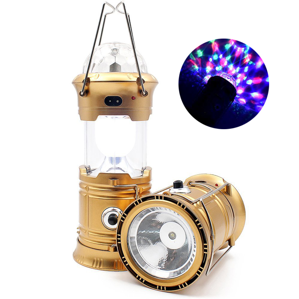 Solar Camping Lantern 3-in-1 LED Party Disco Light Rechargeable Portable Flashlight For Hiking Camping Tent Emergency Lighting led solar flashlight with fan lantern camping camping light outdoor portable tent telescopic emergency light