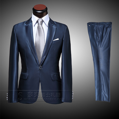 High-end Custom Men's suits 2016 Fashion Navy Blue Mens Business Dress Groom Wedding Suits Male Slim Fit Suit and Pants Sets