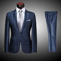 High-end Custom suits 2016 Fashion Marineblauw Mens Business jurk Bruidegom Suits Mannelijke Slim Fit Pak en Broek Sets