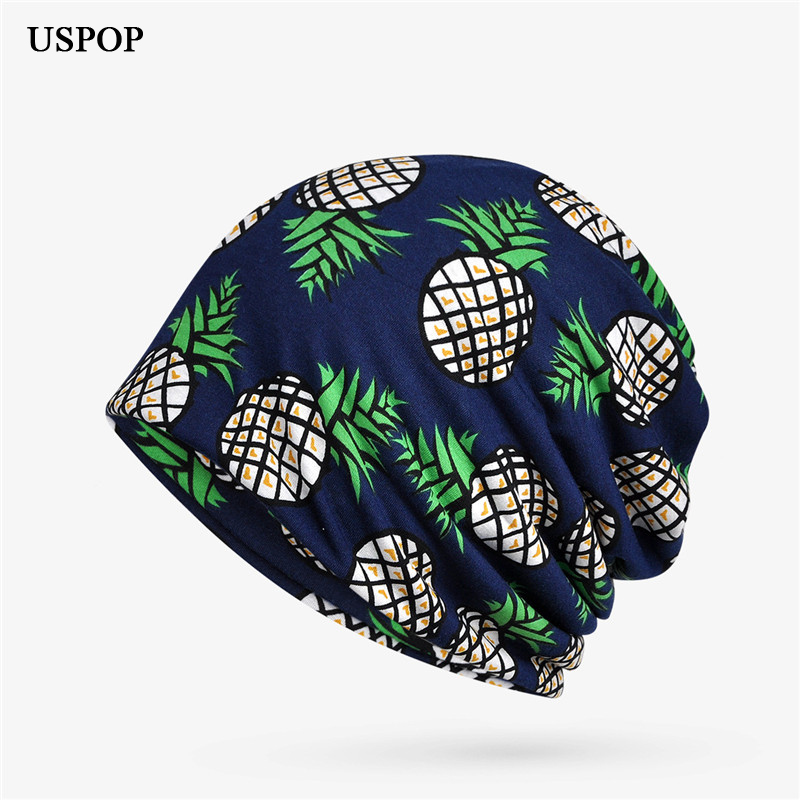 USPOP 2019 Newest women breathable spring hat soft fashion pineapple print   skullies   female casual elastic   beanies   hat