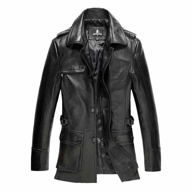 1a5c1553a8b Men s winter leather motorcycle leather jacket leather men Slim safari sheepskin  coat lapel and long sections