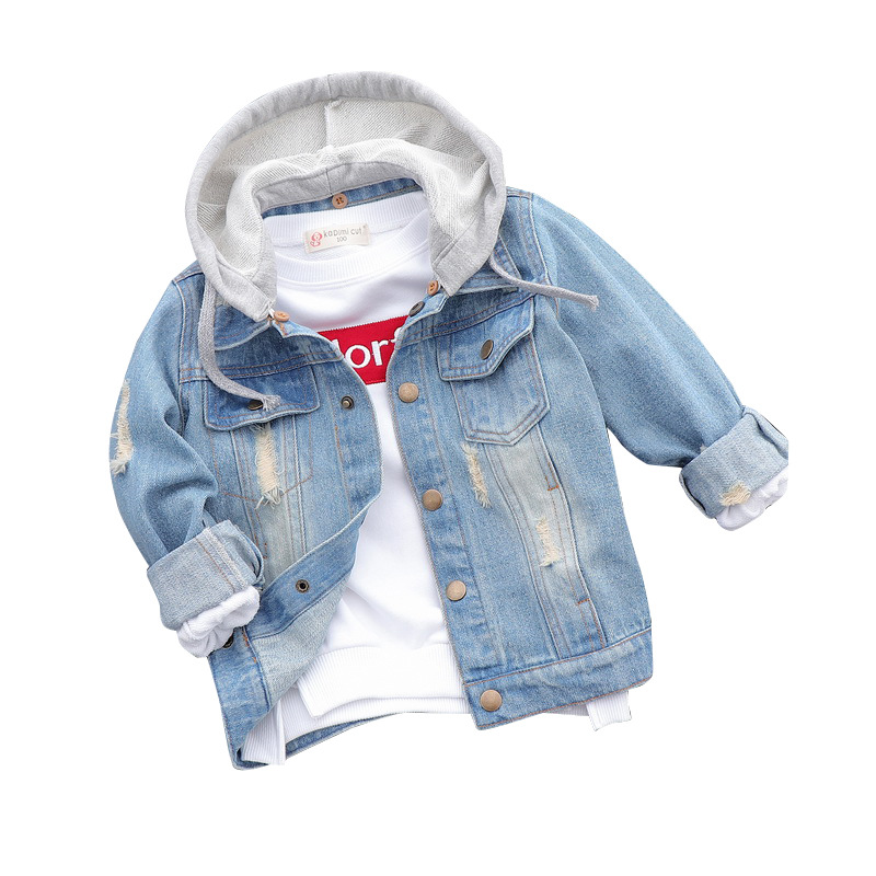 2018 New Baby Boys Denim Jacket Single Breasted Vintage Hooded Outerwear Coat Spring Autumn Children Clothing Kids Washed Jeans single breasted dual pockets denim skirt