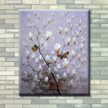 Pure Hand-painted Oil Painting On Canvas Magnolia Flowers Wall Art Modern Decoration The Living Room Hangs A Picture
