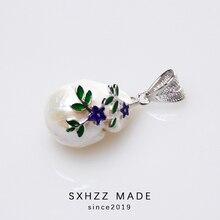 SXHZZ Designers Irregular Alien Beads Pendant Silver 925 Pearl Natural Freshwater Baroque Necklace Female Handmade