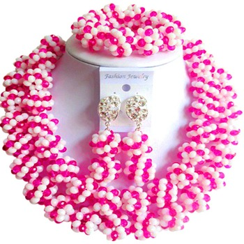 Unique Fuchsia Pink Opaque White African Style Crystal Engagement Jewelry Sets for Lovers 2C-SJHQ-17