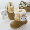 2016 New Fashion Children'S Rubber Snow Boots Winter Boots For Girls Fur Rubbit Warm Shoes Girl Cartoon Sneakers Size 21-30