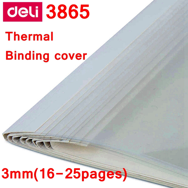 [ReadStar]10PCS/LOT Deli 3865 thermal binding cover A4 Glue binding cover 3mm (16 25 pages) thermal binding machine cover|thermal binding machine|binding machine|thermal binding - title=