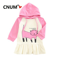 CNUM Girls Pleated Dress Kids Hoodie Jacket 2019 Spring Fashion Long Sleeved Outerwear for Baby Girl Children Cartoon Clothing