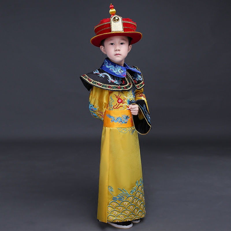 China Boys Chinese Emperor Costume Ancient Costumes Chinese Emperor Clothes Prince Robe Clothing Tang Dynasty Emperors black and coffee 2 colors hair tiara ancient chinese emperor or prince costume hair crown piece cosplay use for kids little boy