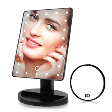 22 LED Lights Touch Screen Makeup Mirror 1X 10X Table Desktop Countertop Bright Adjustable USB Cable
