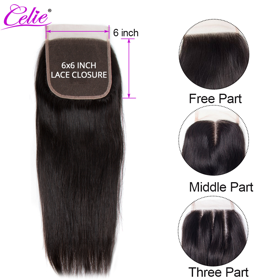 Celie 6x6 Lace Closure Straight Human Hair Closure With Baby Hair Free Middle Three Part Remy