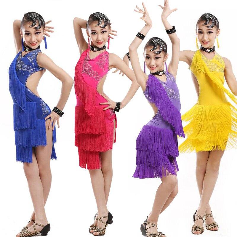 a8535692898b Paillettes figura abiti da competizione di pattinaggio Bambini concorso di  danza Latino Dancewear Costume Salsa dance dress Abbigliamento per la  Ragazza in ...