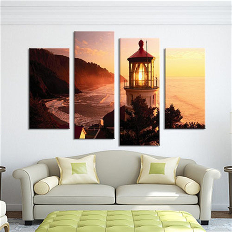 Beautiful Lighthouse Scenery 4 Panels Wall Art Canvas Paintings Wall Decorations Artwork Giclee Wall Artwork Home