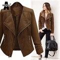 ACHIEWELL Plus Size 5XL Inverno Mulheres Pu Leather Jacket Manga Comprida Magro Marrom Restaurar Motocicleta Mulheres Casaco Básico Jaqueta