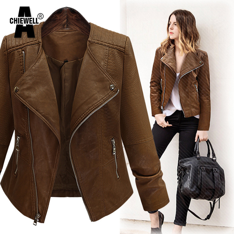 ACHIEWELL Plus Size 5XL Winter Women Pu Leather Jacket Long Sleeve Slim Brown Restoring Motorcycle Women Basic Jacket Coat