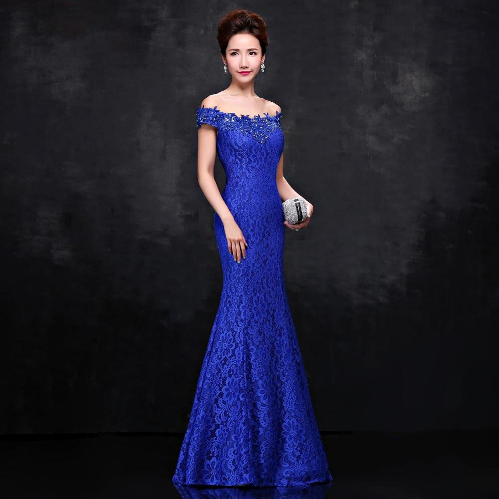 2019 New Arrival Royal Blue Vintage Lace Beaded Mermaid   Prom     Dresses   Long Off the Shoulder Evening Party Gowns Vestido De Festa