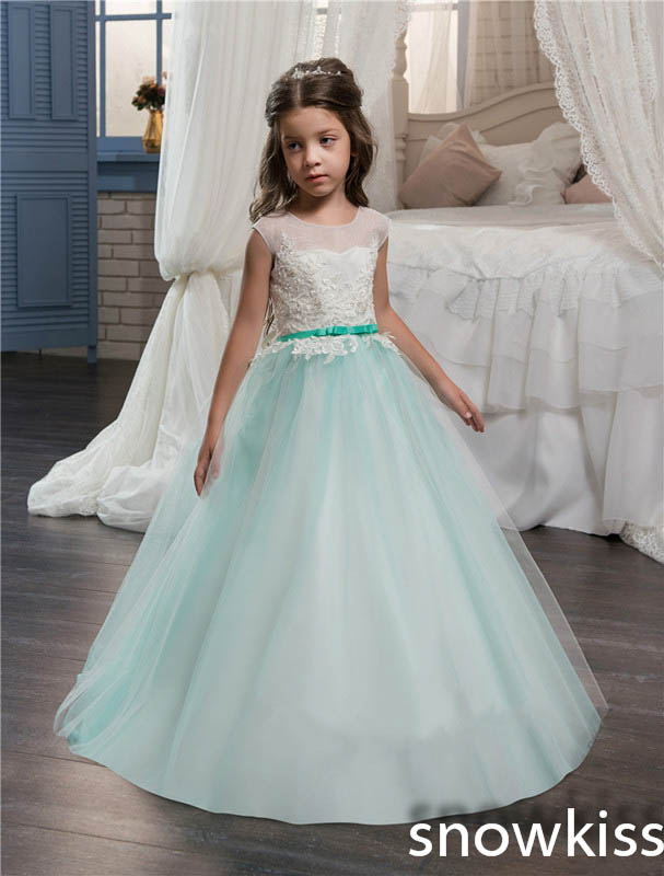 Sky blue cute toddler pageant prom dresses with lace appliques open back tulle ball gown flower girls dress glitz for wedding ball gown sky blue open back with long train ruffles tiered crystals flower girl dress party birthday evening party pageant gown