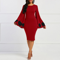 Clocolor Polka Dots Solid Retro Plus Size XXL Bodycon Tight Pencil Party African Clothing Stretch Long Sleeve Vintage Red Dress