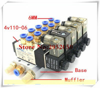 Airtac 5 Way 4V110 06 With LED Indicator Quintuple Electromagnetic Solenoid Valves w Muffler Fitting Base 12v 24v 110v 220v