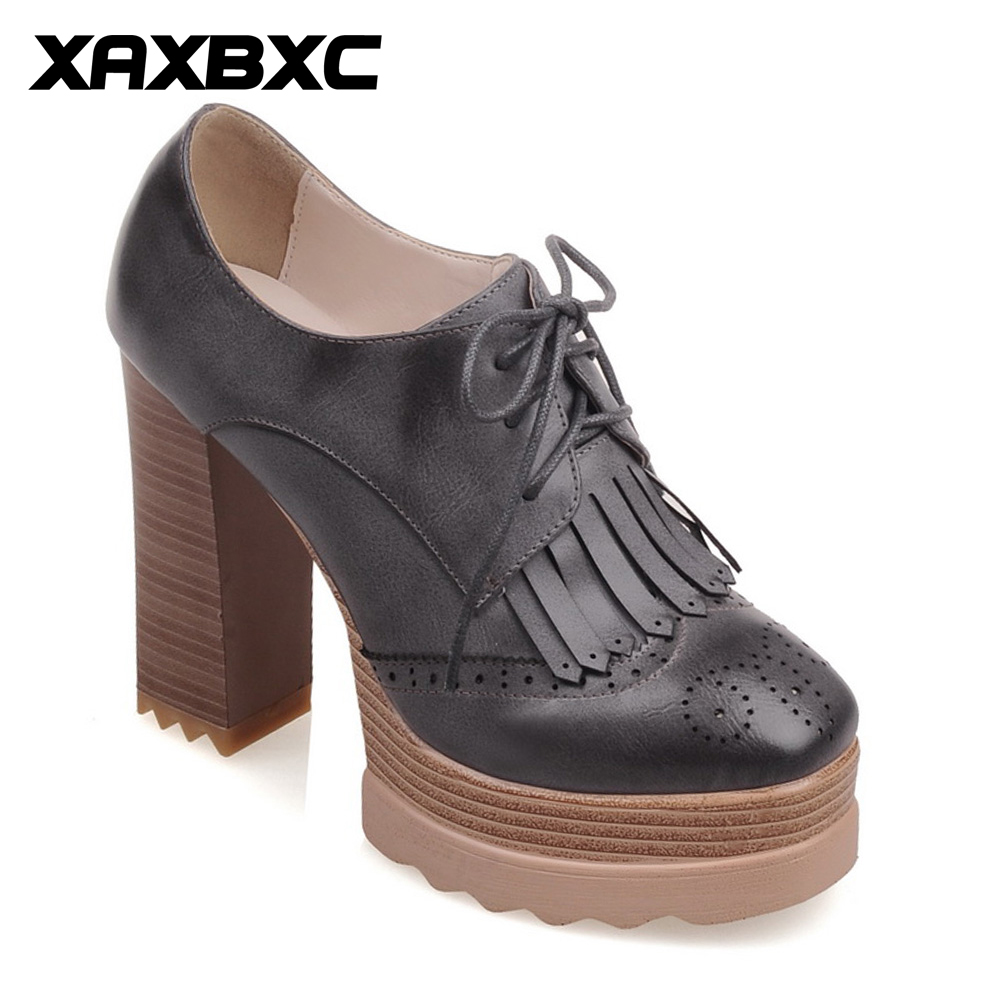 XAXBXC 2018 Retro British Spring Thick Heel PU Leather Brogue Lace-up High Heels Oxfords Women Shoes Handmade Casual Lady Shoes ikiv folding knives s35vn blade carbon fiber steel handle tactical combat pocket knife bearing survival hunting camping tools