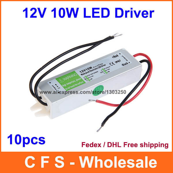 10pcs dc led driver 12v 10w waterproof electronic led cctv driver