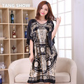 Hot Sale Black Chinese Lady Rayon Robe Gown Novelty Printed Nightgown Sleepwear Traditional Yukata Bath Dress One Size S002-H
