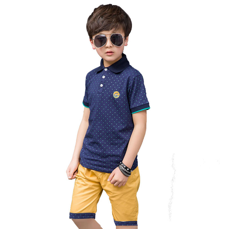 Boys Summer Sports Suit Short Sleeve Polo Shirt + Shorts Pants Clothes Set For Boys Tops Children Clothing Sets 4 6 7 8 9 10 12Y