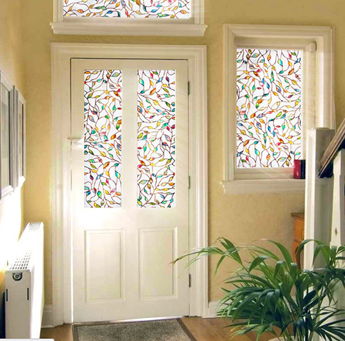 2017 new colorful leaf static cling decorative stained glass window film privacy films textured length 100cm - Decorative Window Film