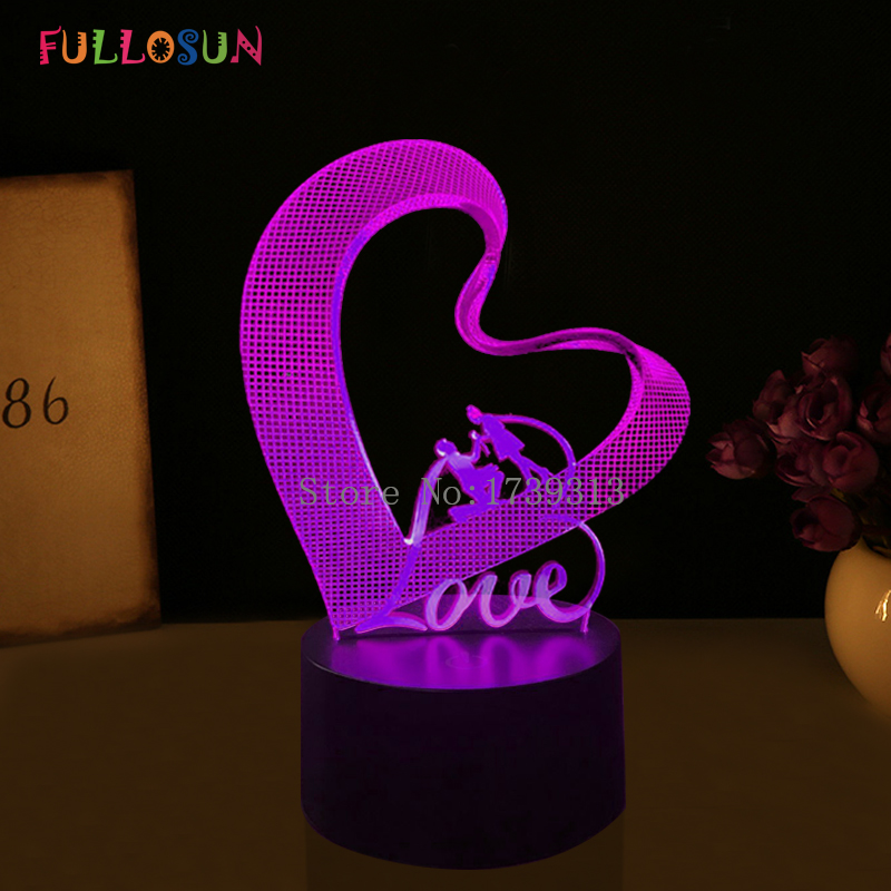 Best Christmas Gift 3D Love LED Night Lights Romantic Lover LED Lamp Colorful 3D Optical Desk Table Lamp for Bedside Decoration free shipping remote control colorful modern minimalist led pyramid light of decoration led night lamp for christmas gifts