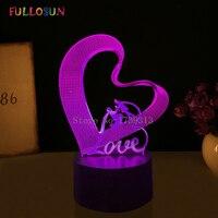 Best Christmas Gift 3D Love LED Night Lights Romantic Lover LED Lamp Colorful 3D Optical Desk Table Lamp for Bedside Decoration