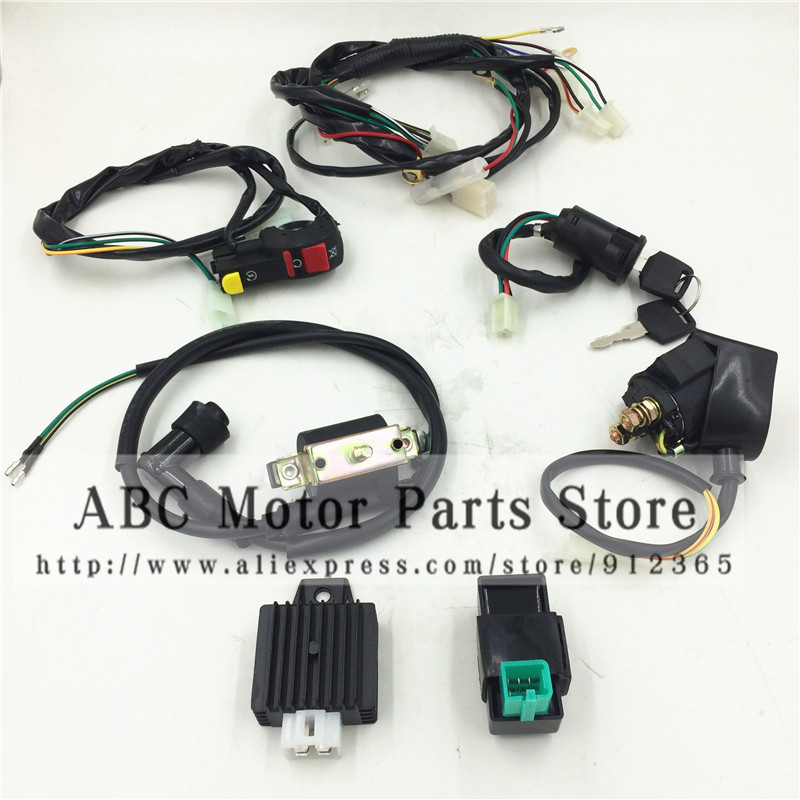 1 set motorcycle electric wiring harness loom for 50cc 90cc 110cc rh aliexpress com 110Cc Engine Parts Diagram Chinese 110Cc Engine Timing