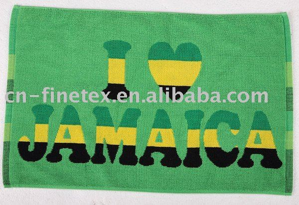 100% cotton  High quality  green  I love leggae  lovely   Reggae Jamaica  jacquard bath mat