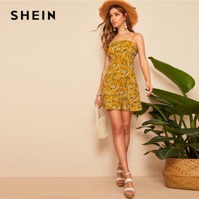 7ec3f12116d03 SHEIN Boho Ginger Shirred Back Ditsy Floral Shirred Back Summer Cami Dress  Women 2019 Fit And Flare A Line Empire Beach Dresses