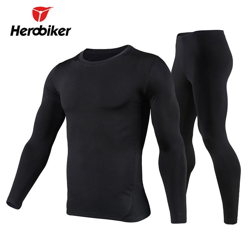 Herobiker Men's Fleece Lined Thermal Underwear Set Motorcycle Base Layer Cycling Skiing Winter Warm Long Johns Top & Bottom Suit цены